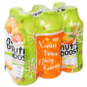 Lốc 6 chai sữa trái cây Nutriboost hương cam 297ml