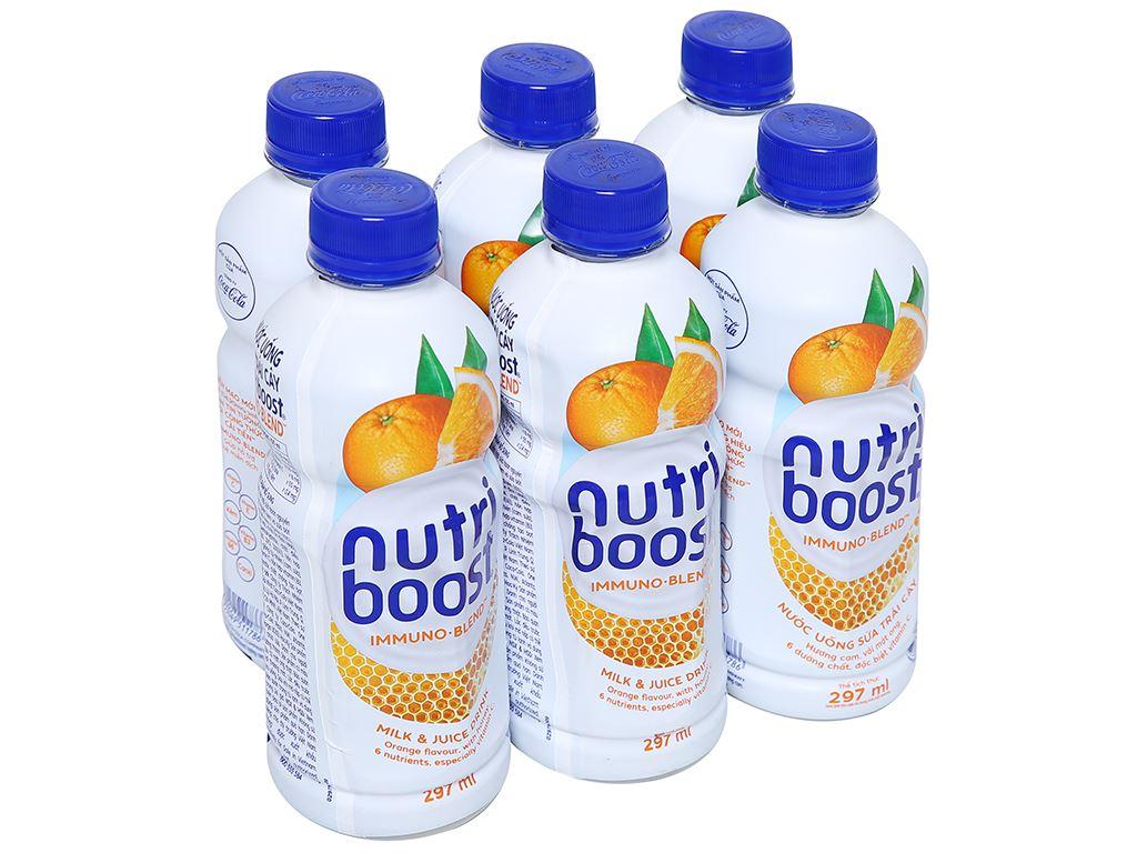 Lốc 6 chai sữa trái cây Nutriboost hương cam 297ml 1