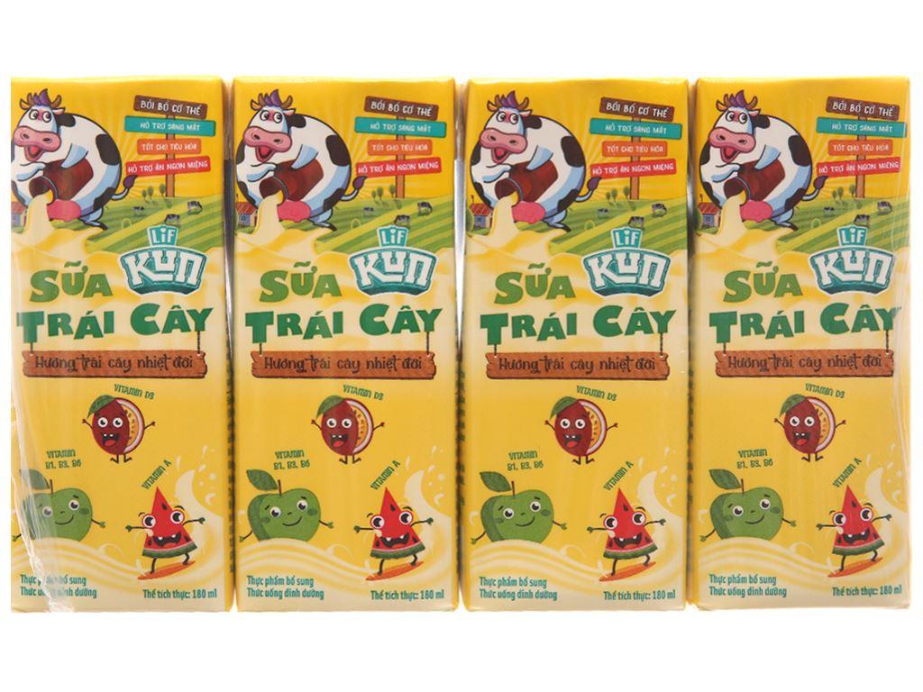 Lốc 4 hộp sữa trái cây LiF Kun hương trái cây nhiệt đới 180ml 1