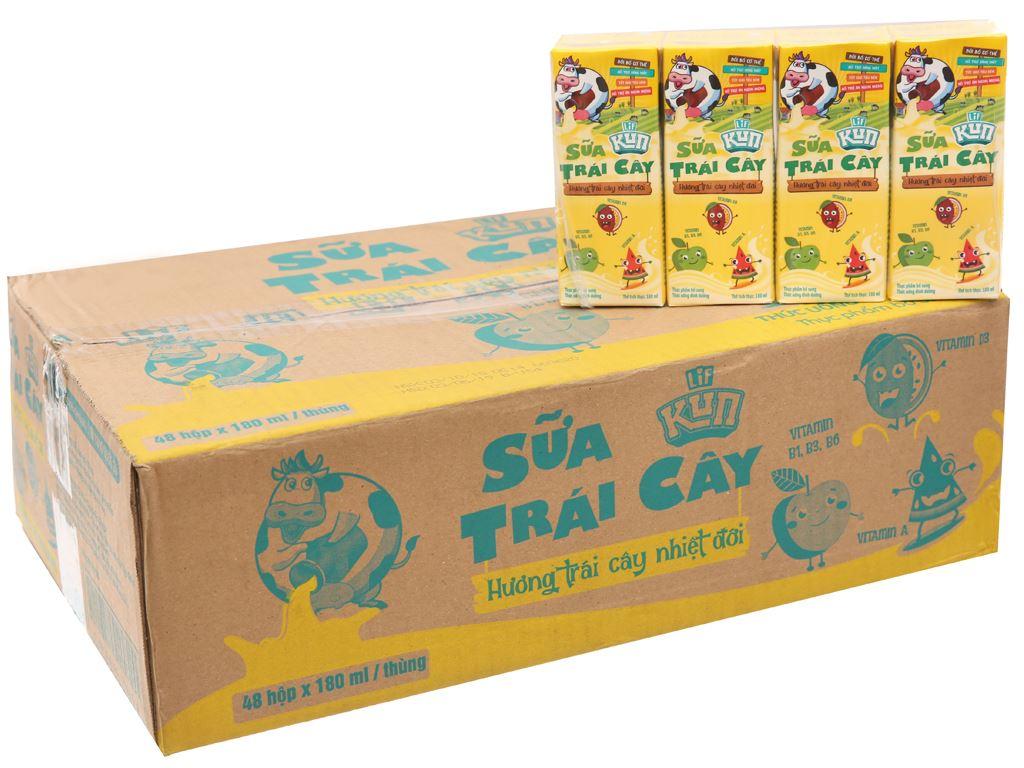 48 hộp sữa trái cây LiF Kun trái cây nhiệt đới 180ml 1