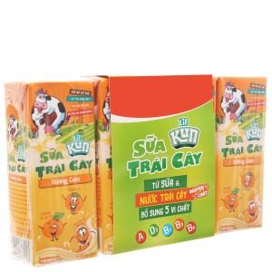 Lốc 4 hộp sữa trái cây LiF Kun hương cam 180ml