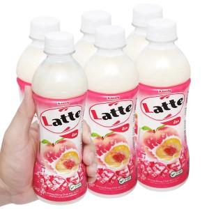 Lốc 6 chai thức uống thiên nhiên pha sữa Latte đào 345ml