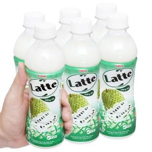Lốc 6 chai thức uống thiên nhiên pha sữa Latte mãng cầu 345ml