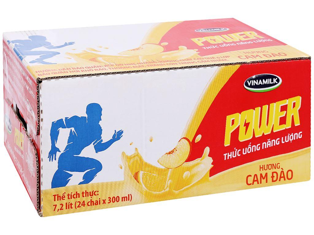 Thùng 24 chai thức uống năng lượng Vinamilk Power hương cam đào 300ml 1