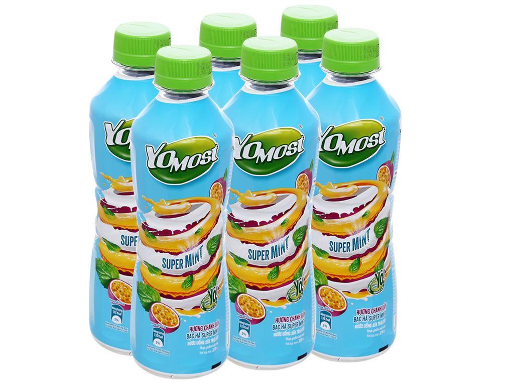 Lốc 6 chai nước uống sữa trái cây YoMost hương chanh dây & bạc hà 270ml 1