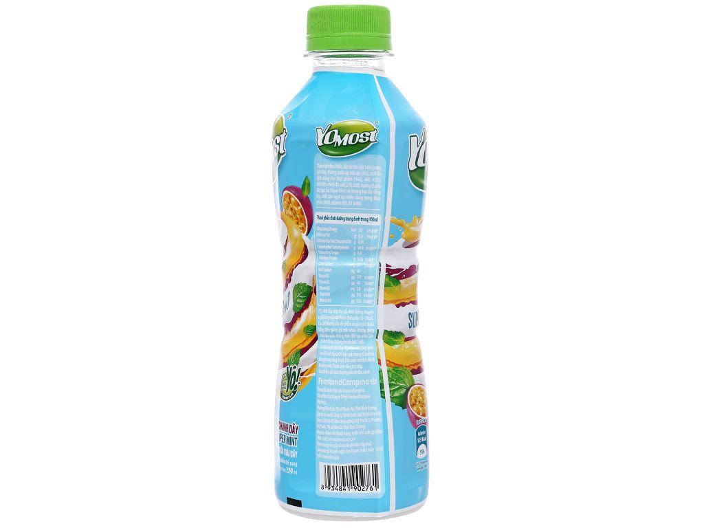 Lốc 6 chai nước uống sữa trái cây YoMost hương chanh dây & bạc hà 270ml 3
