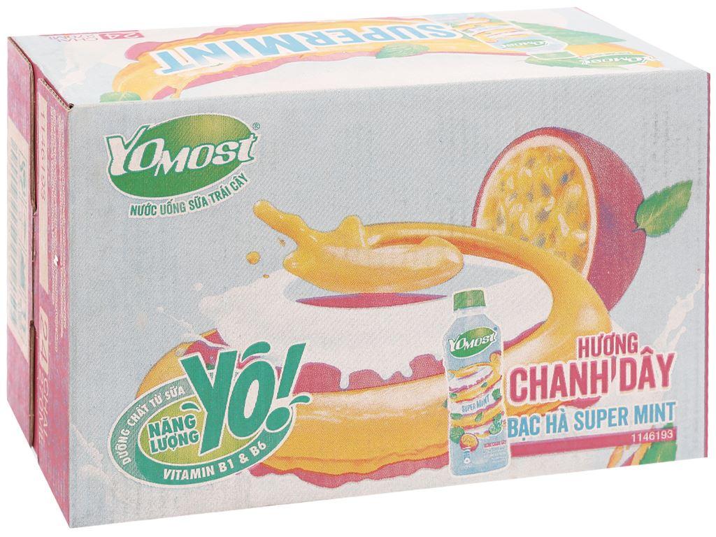Thùng 24 chai nước uống sữa trái cây YoMost hương chanh dây & bạc hà 270ml 1