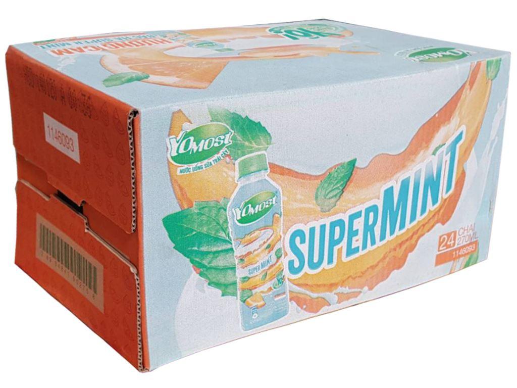 Thùng 24 chai nước uống sữa trái cây YoMost hương cam & bạc hà 270ml 1