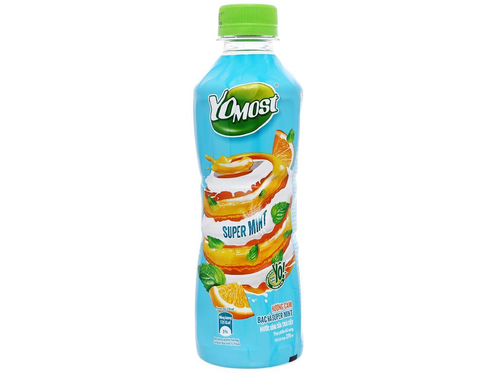 Thùng 24 chai nước uống sữa trái cây YoMost hương cam & bạc hà 270ml 2