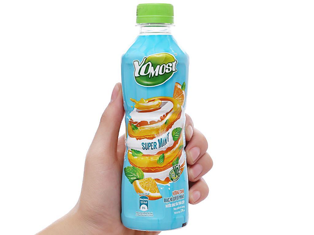 Thùng 24 chai nước uống sữa trái cây YoMost hương cam & bạc hà 270ml 4
