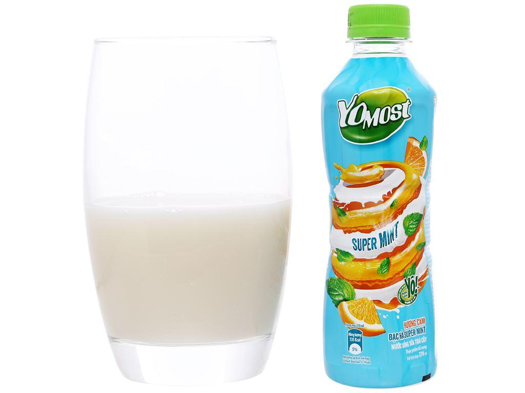 Thùng 24 chai nước uống sữa trái cây YoMost hương cam & bạc hà 270ml 5