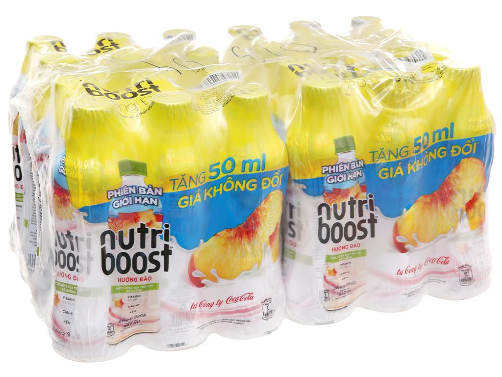 Thùng 24 chai sữa trái cây có đào miếng Nutriboost Bits 297ml 1