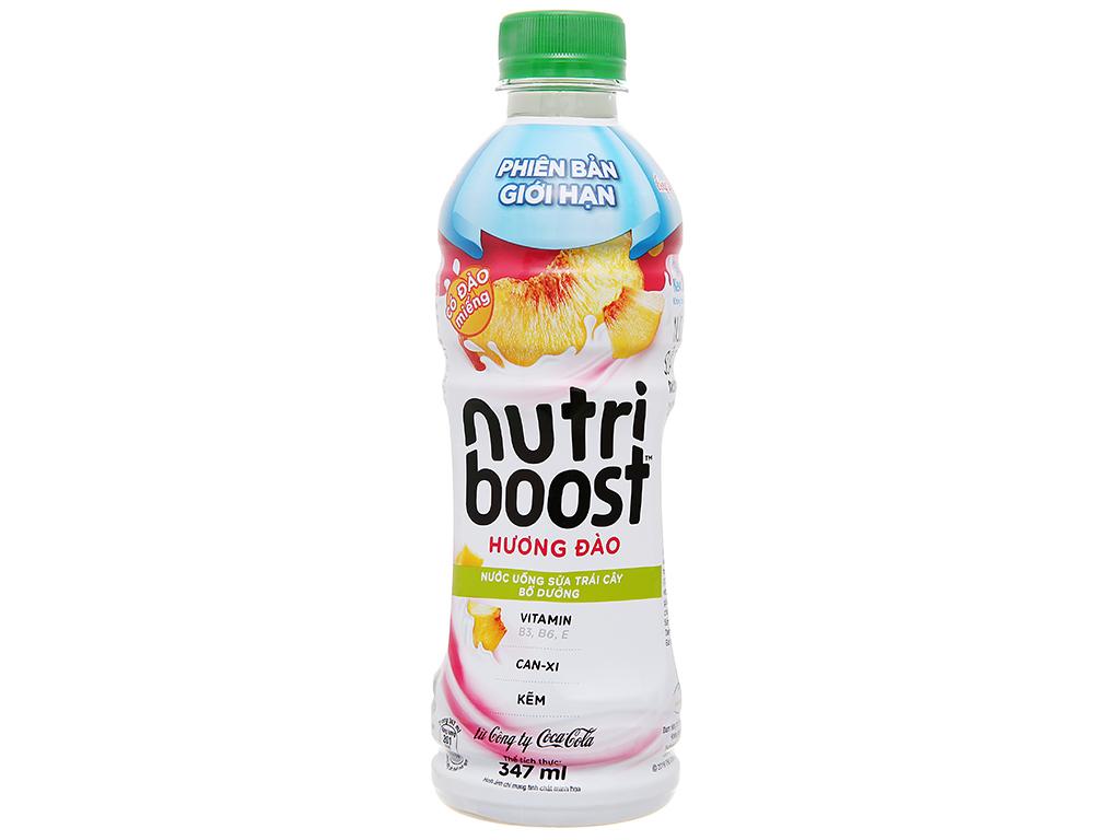 Thùng 24 chai sữa trái cây có đào miếng Nutriboost Bits 297ml 100