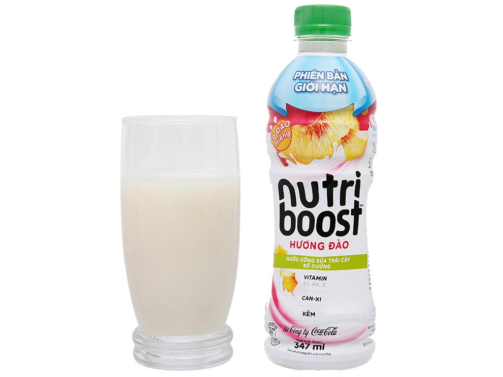 Thùng 24 chai sữa trái cây có đào miếng Nutriboost Bits 297ml 106