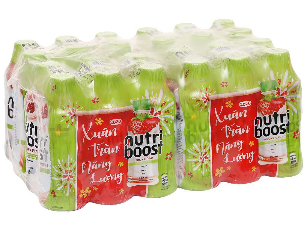 Thùng 24 chai sữa trái cây Nutriboost hương dâu 297ml 1