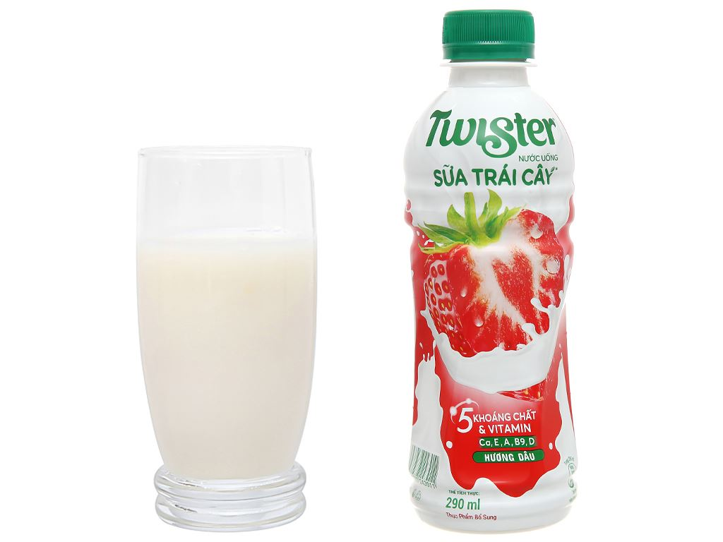 6 chai sữa trái cây Twister hương dâu 290ml 5