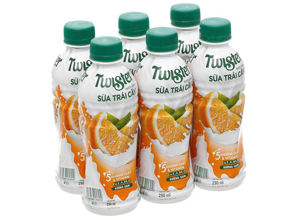 6 chai sữa trái cây Twister hương cam 290ml 1
