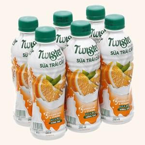 6 chai sữa trái cây Twister hương cam 290ml