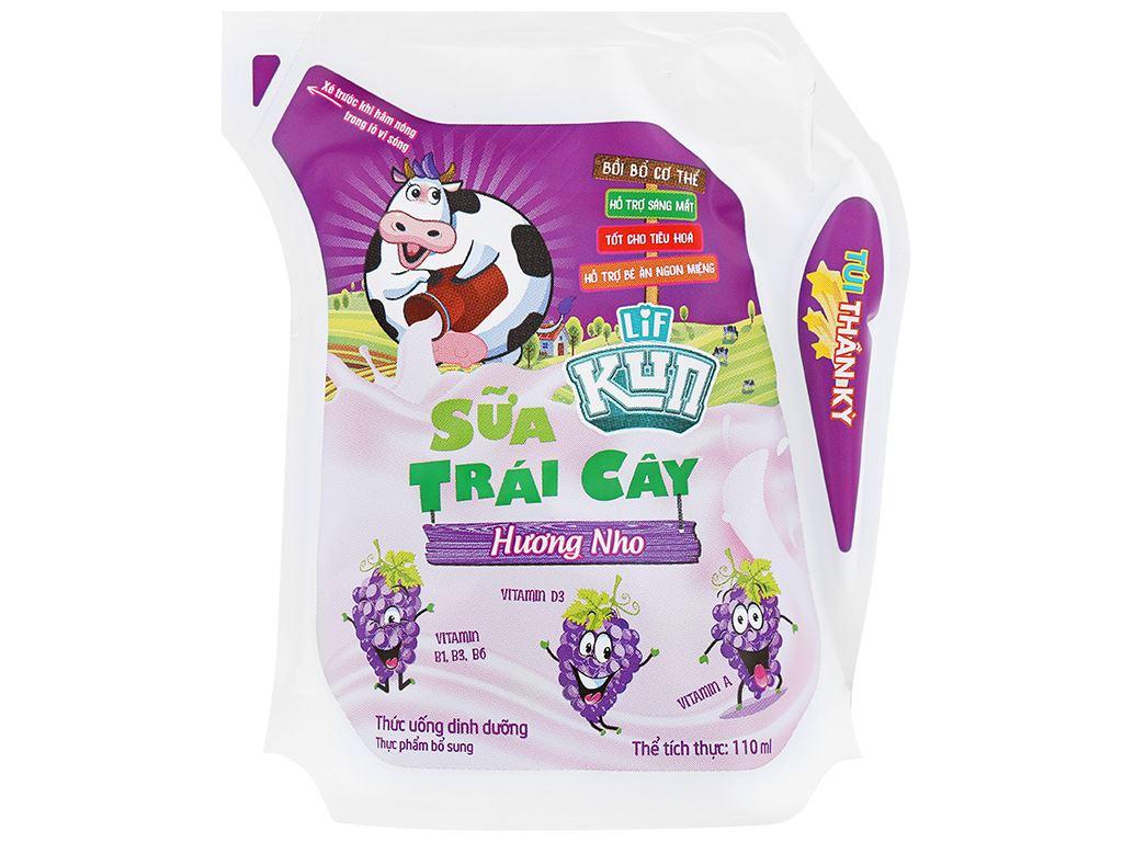 Thùng 24 túi sữa trái cây LiF Kun hương nho 110ml 2