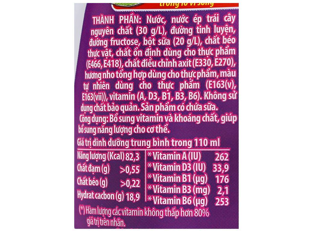 Thùng 24 túi sữa trái cây LiF Kun hương nho 110ml 4