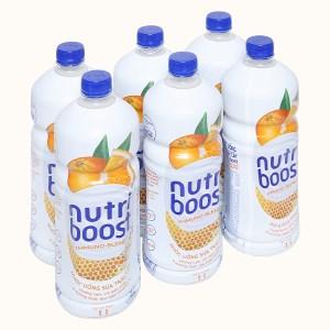 6 chai sữa trái cây Nutriboost hương cam 1 lít