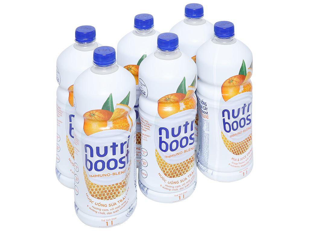 6 chai sữa trái cây Nutriboost hương cam 1 lít 1