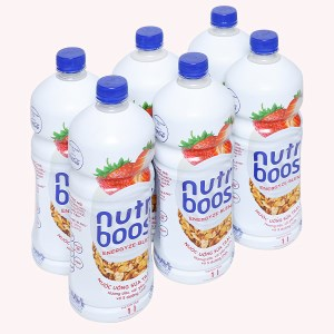 6 chai sữa trái cây Nutriboost hương dâu 1 lít