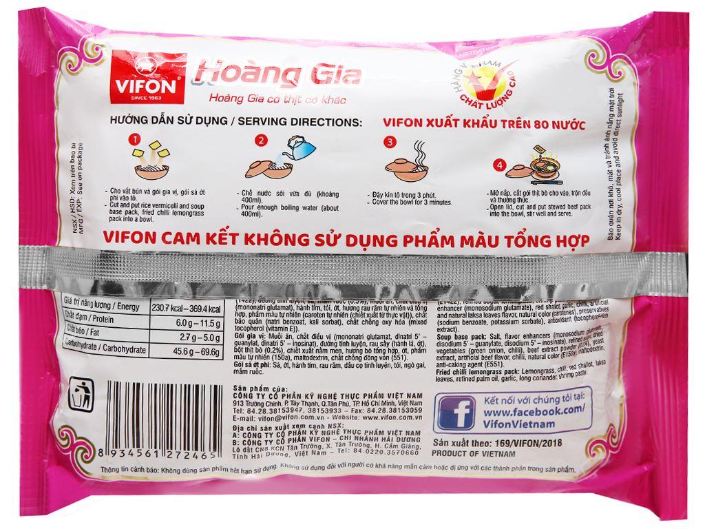 Thùng 18 gói bún bò Huế Vifon Hoàng Gia 120g (có gói thịt thật) 6