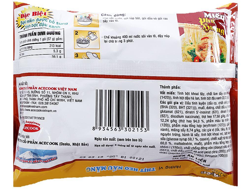 Thùng 24 gói miến Phú Hương thịt heo nấu măng 57g 3