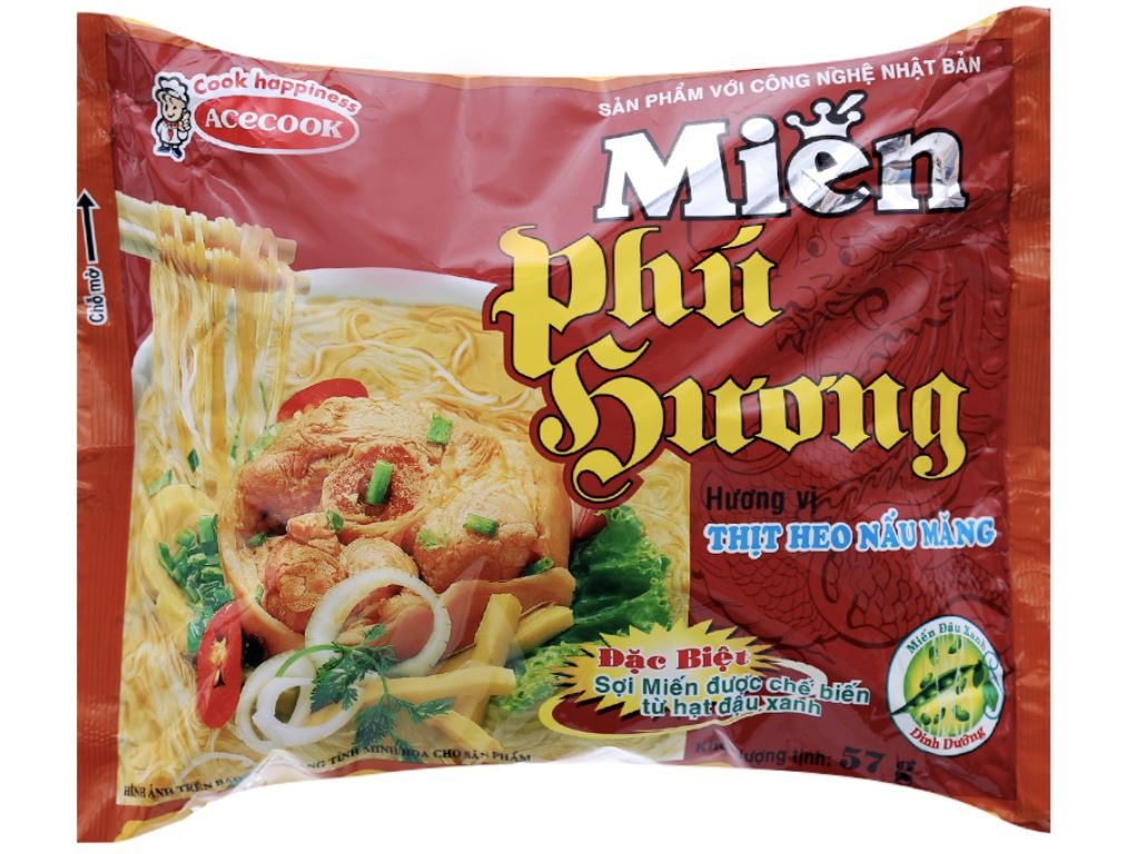 Thùng 30 gói miến thịt heo nấu măng Phú Hương 57g 2