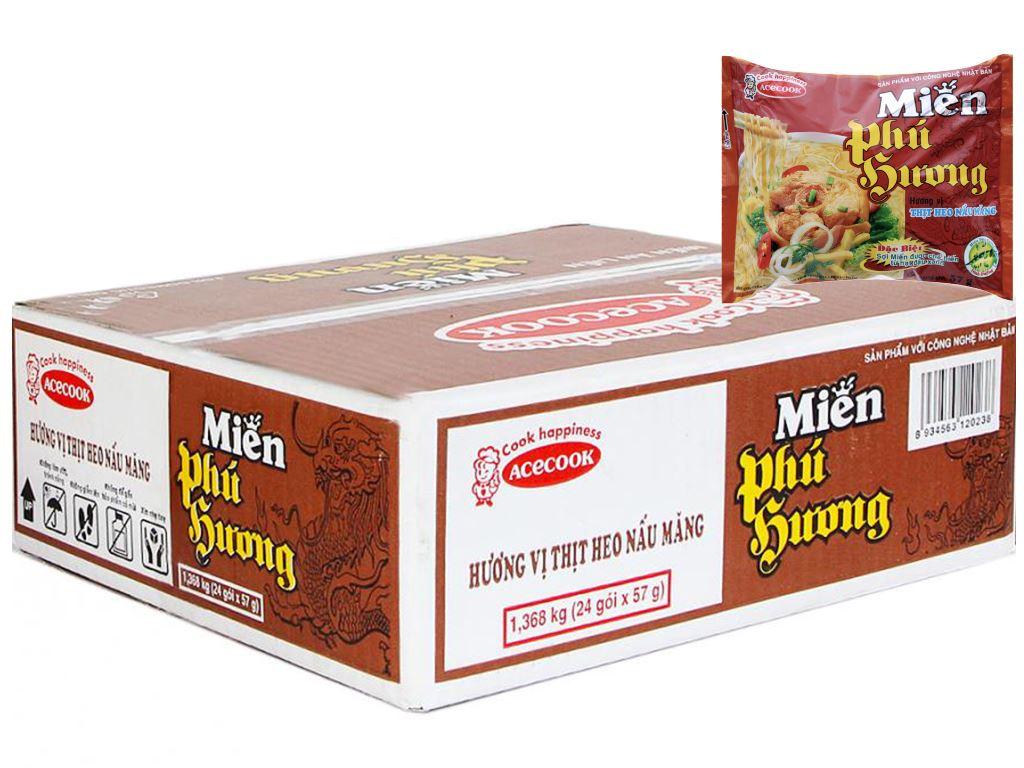 Thùng 24 gói miến Phú Hương thịt heo nấu măng 57g 2