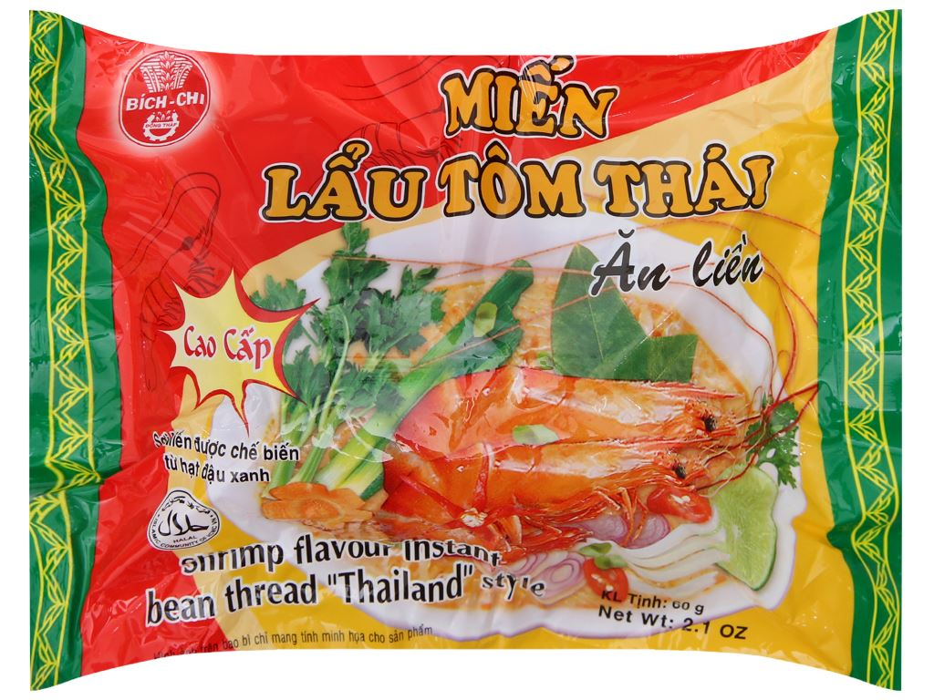 Thùng 30 gói miến lẩu tôm Thái Bích Chi 60g 3