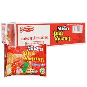 Thùng 24 gói miến Phú Hương lẩu Thái tôm 63g