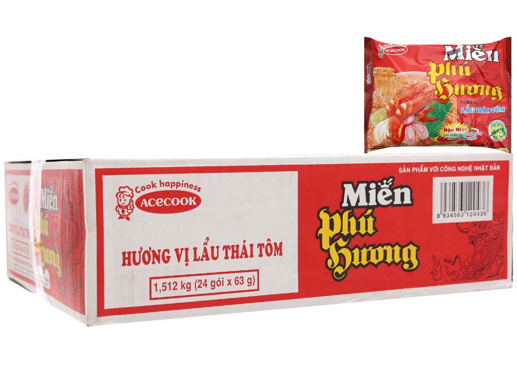 Thùng 24 gói miến Phú Hương lẩu Thái tôm 63g 2