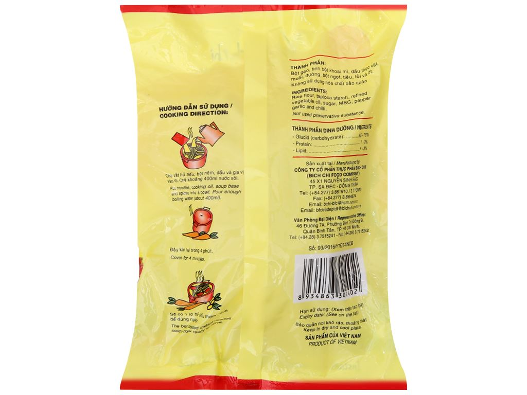 Thùng 30 gói Hủ tiếu Nam Vang ăn liền Bích Chi gói 60g 4