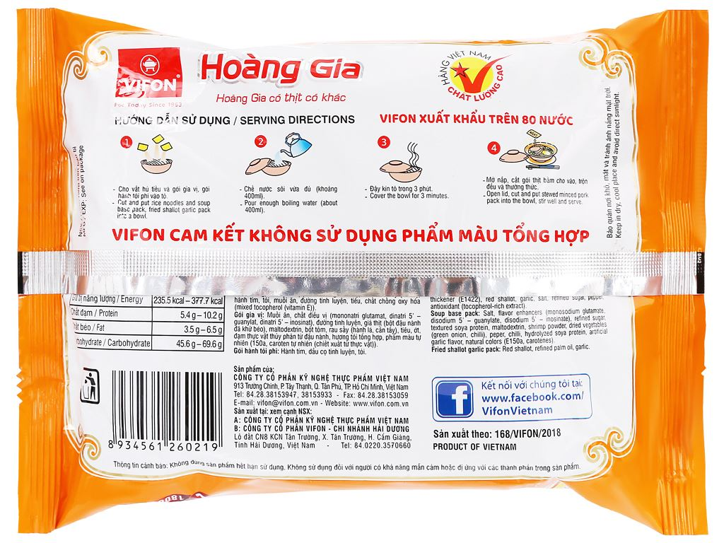Thùng 18 gói hủ tiếu Nam Vang Vifon Hoàng Gia 120g 7