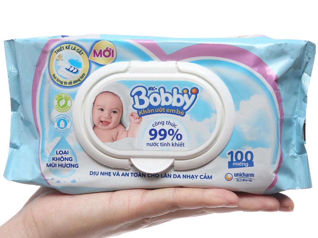 Khăn ướt em bé Bobby không mùi gói 100 tờ 5