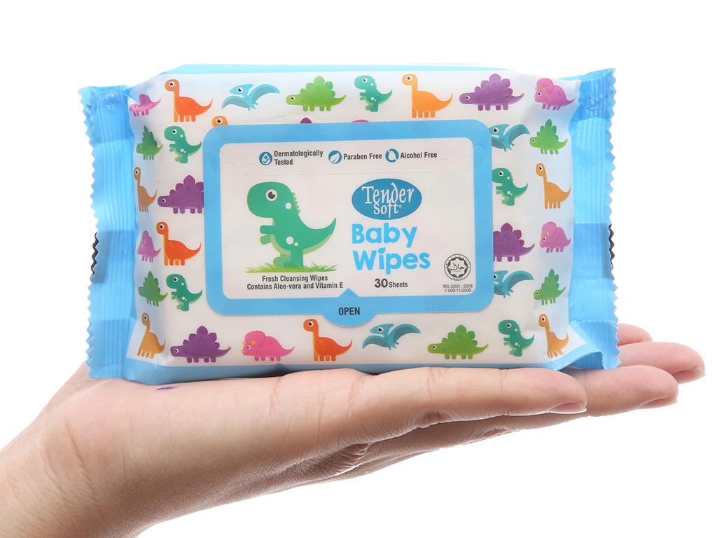 Khăn ướt em bé Tender Soft Baby Wipes gói 30 miếng 5