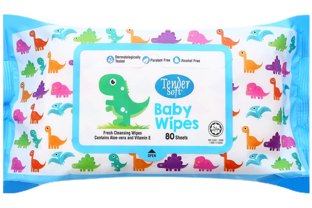 Khăn ướt em bé Tender Soft Baby Wipes hương nha đam gói 80 tờ 2