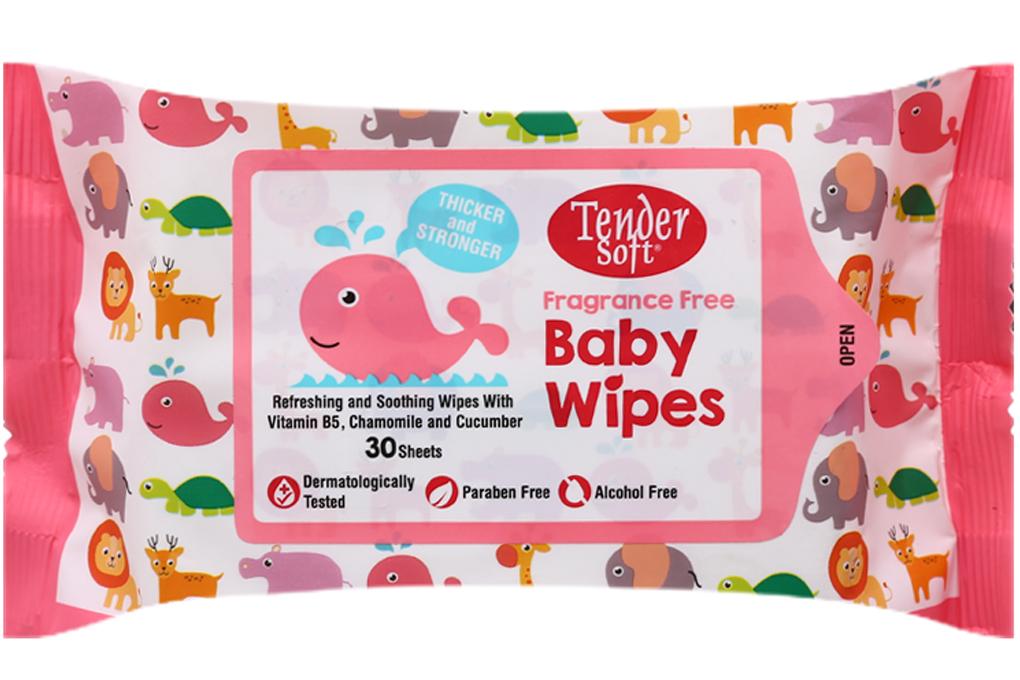 Khăn ướt Tender Soft Baby Wipes hương tự nhiên gói 30 tờ 2
