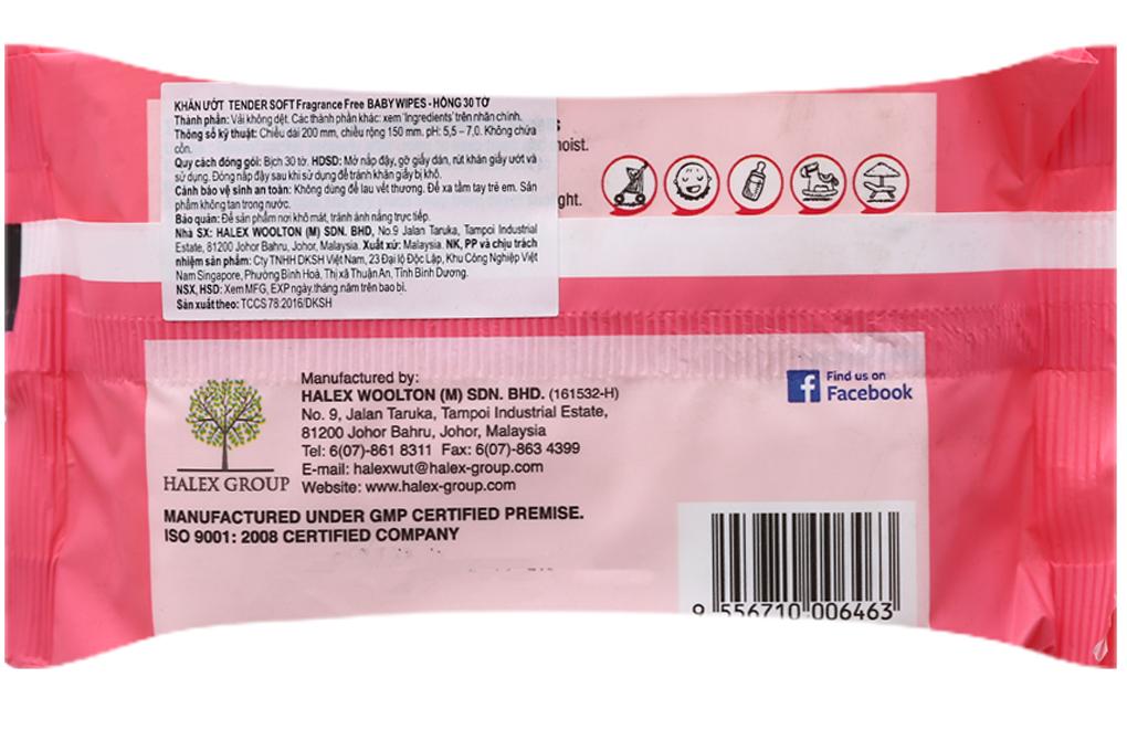 Khăn ướt Tender Soft Baby Wipes hương tự nhiên gói 30 tờ 3
