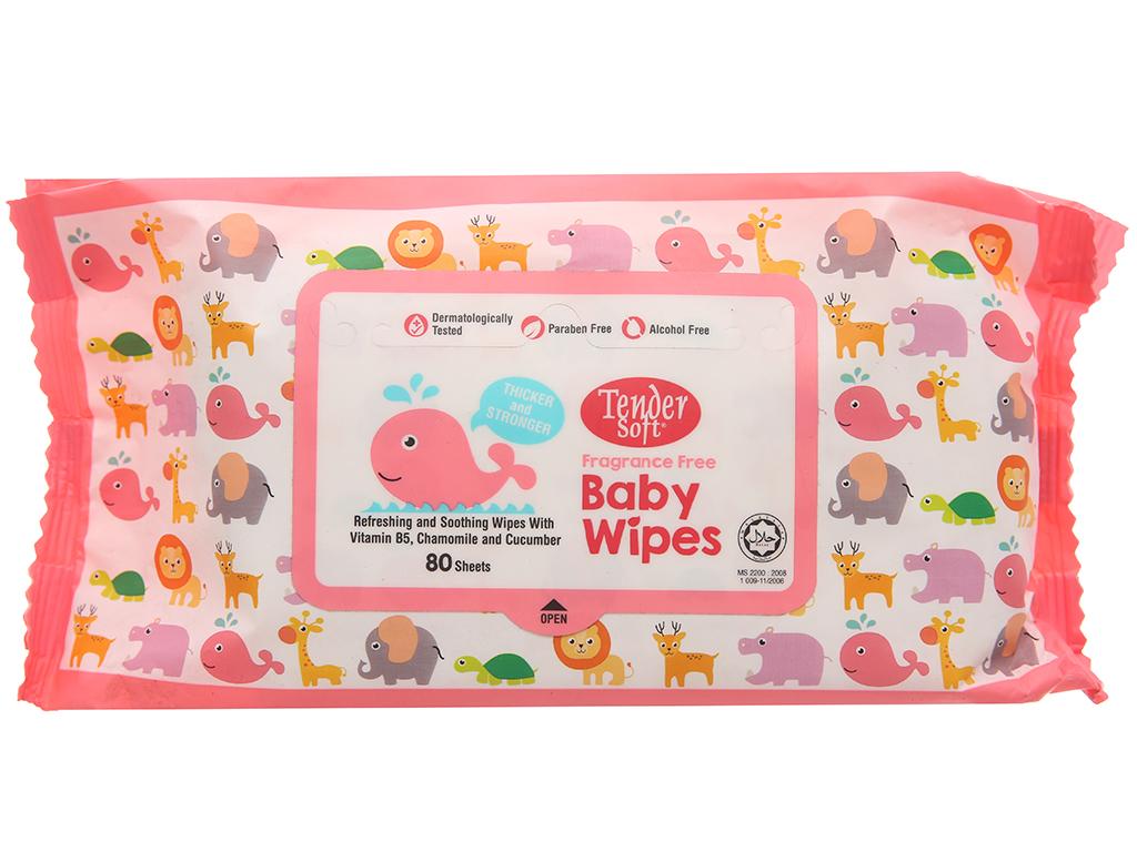 Khăn ướt em bé Tender Soft không mùi gói 80 miếng 2