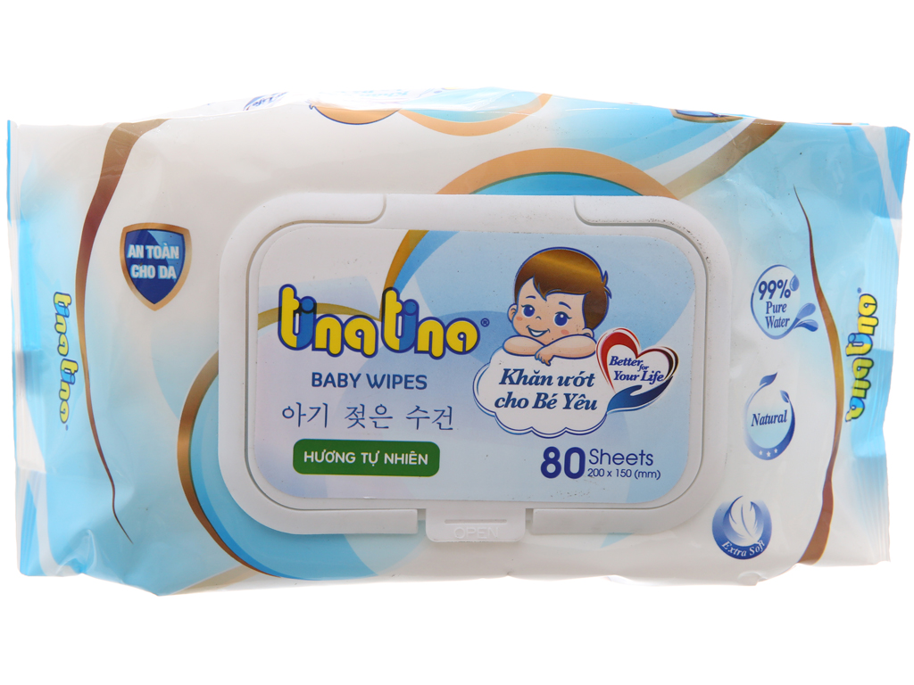 Khăn ướt em bé Tina Tino Baby Wipes hương tự nhiên gói 80 tờ 2