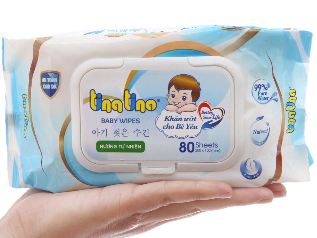 Khăn ướt em bé Tina Tino hương tự nhiên gói 80 tờ 4