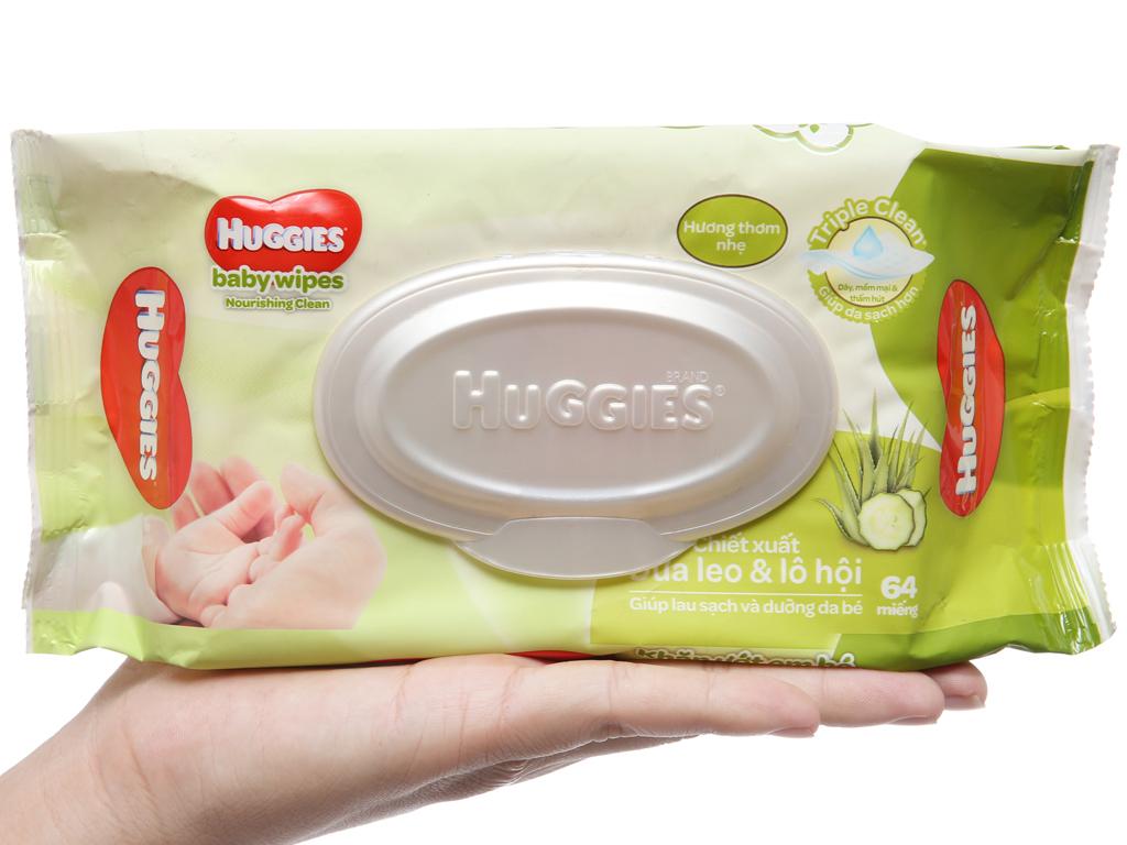 Khăn ướt em bé Huggies hương thơm nhẹ gói 64 miếng 4