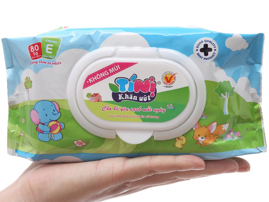 Khăn ướt em bé Tí Nị không mùi gói 80 miếng 4