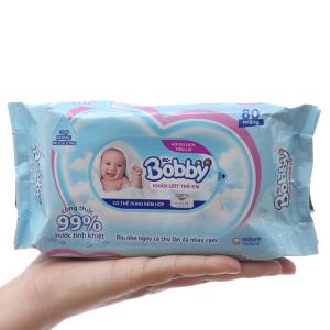 Khăn ướt em bé Bobby không mùi gói 80 miếng
