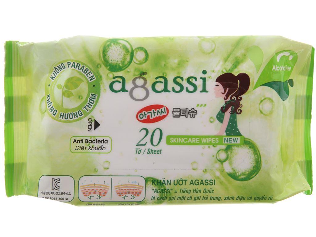 Khăn ướt diệt khuẩn Agassi không mùi gói 20 miếng 2