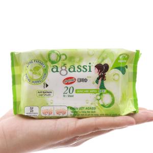 Khăn ướt chăm sóc da Agassi không mùi gói 20 miếng