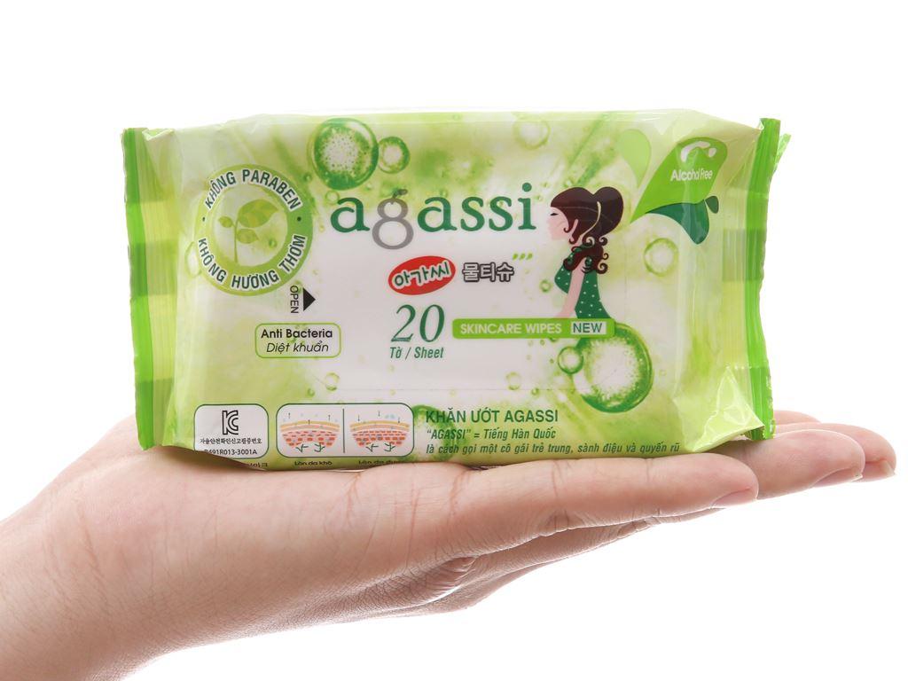 Khăn ướt diệt khuẩn Agassi không mùi gói 20 miếng 4
